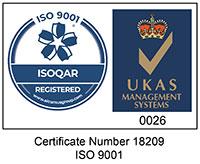 ISO 9001 Certified UKAS ISOQAR Logo